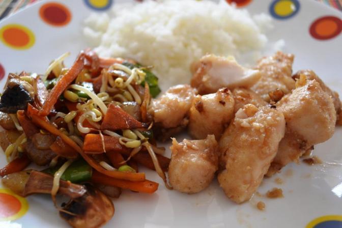 pescado y verduras wok