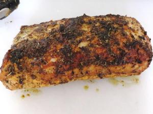 Lomo de cerdo con mostaza y hierbas aromaticas