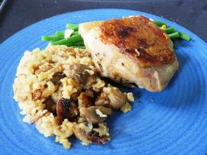 pollo con arroz integral champoñones