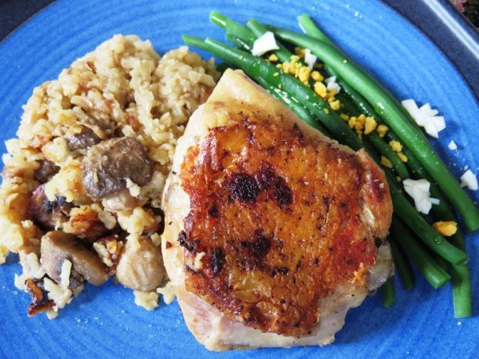 Pollo y Arroz integral con champiñones